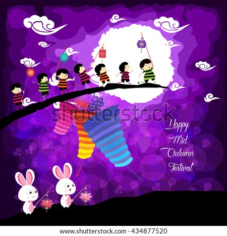 Mid Autumn Festival background with kids and rabbit playing lanterns - stock vector