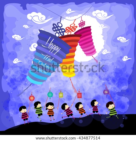 Mid Autumn Festival background with kids playing lanterns