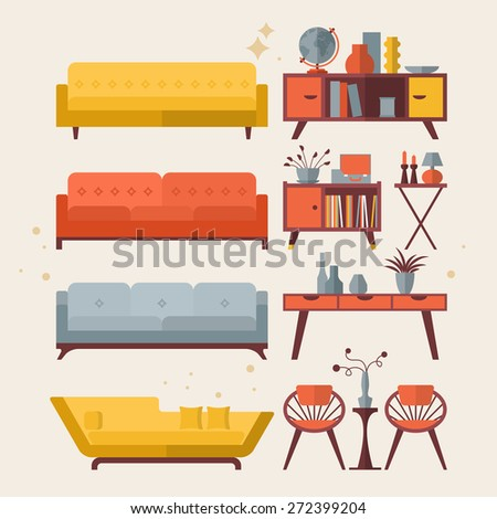 Mid century furniture flat modern icons design - stock vector
