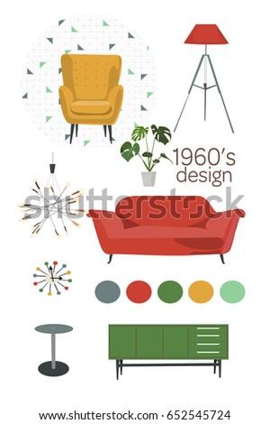 Mid Century Modern Furniture Set Vector Living Room 1960 1950 Retro Vintage Interior Design