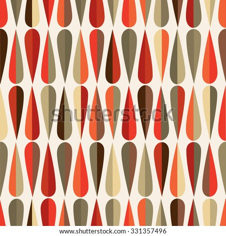 Mid Century Modern Style Retro Seamless Pattern With Drop Shapes In Various Color Tones