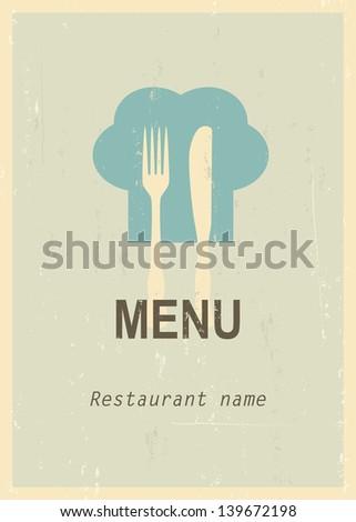Mid century restaurant menu cover. Retro menu. EPS10 blend mode used - stock vector