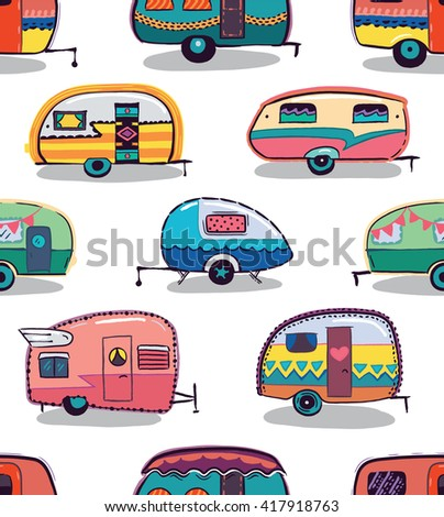 Mid fifties cartoonish campers pattern