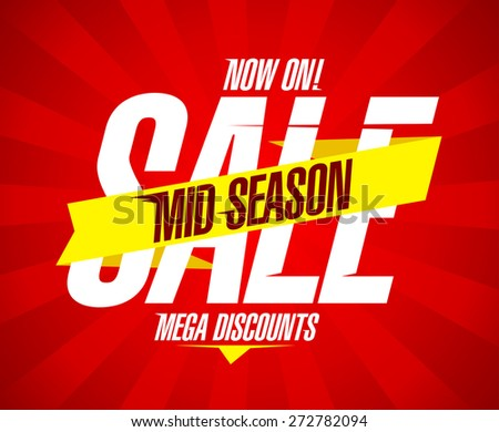 Mid season sale design with ribbon and rays. - stock vector