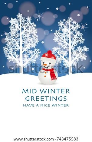 Midwinter greeting card snowman stock vector 2018 743475583 mid winter greeting card of snowman m4hsunfo