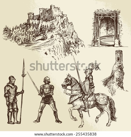 middle age knights - stock vector
