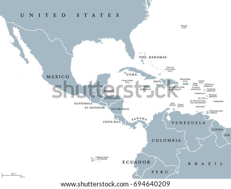 Middle America Political Map With Borders And English Labeling Countries Of Southern North America