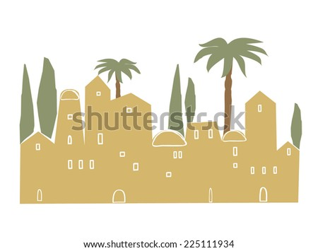 Middle East, Ancient, Old City, Vector Illustration - stock vector