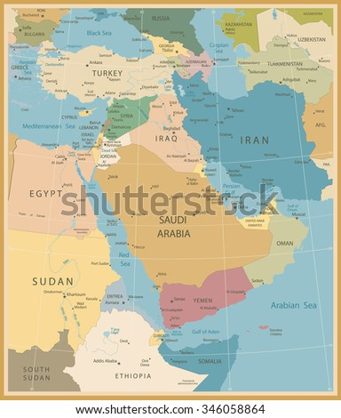Middle East And West Asia Map Vintage Colors  - stock vector