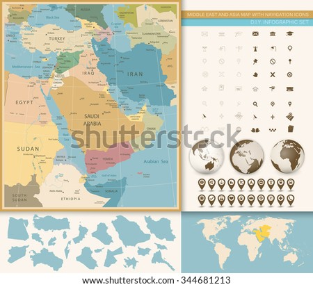 Middle East West Asia Map Vintage Stock Vector 344681213