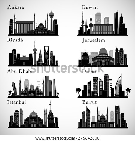 Middle East Cities skylines set. Detailed graphic Landmarks. Isolated vector illustration.  - stock vector