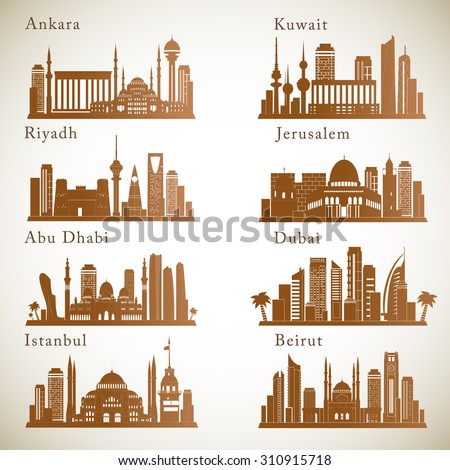 Middle East Cities skylines set. Graphic vector silhouettes of landmarks. - stock vector