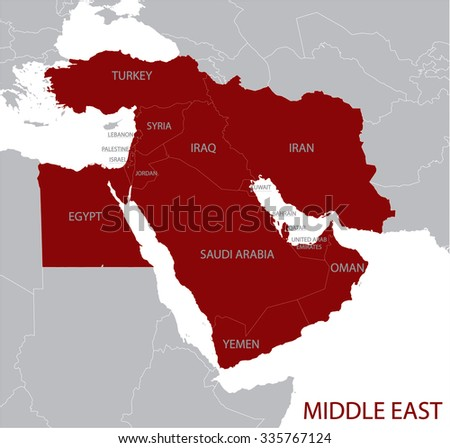 Middle East Map - stock vector