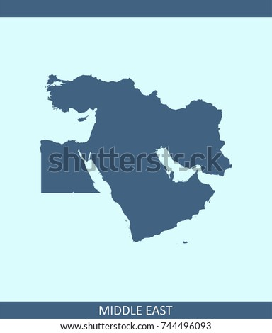 Middle East Map Vector Outline Illustration Stock Vector 744496093