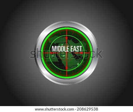 Middle East Radar Map - stock vector