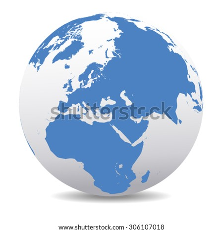 Middle East, Russia, Europe, and Africa, Global World - stock vector