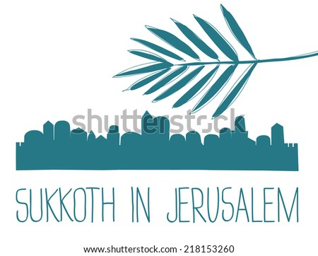 Middle East Town , Sukkoth in Jerusalem,  Vector Illustration - stock vector