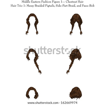Middle Eastern Fashion Figure 1--Chestnut Hair Hair Trio 1: Messy Braided Pigtails, Side-Part Braid, and Faux-Bob - stock vector