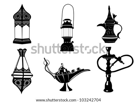Middle Eastern Vector Icon Illustrations - Lamps, Coffee Pot, Hookah - stock vector