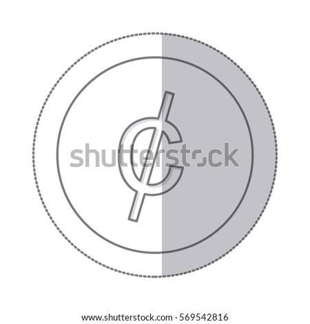 Middle Shadow Monochrome Circle Currency Symbol Stock Vector