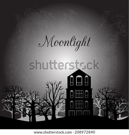 Midnight landscape with old house and trees, halloween composition, hand drawn vector illustration - stock vector