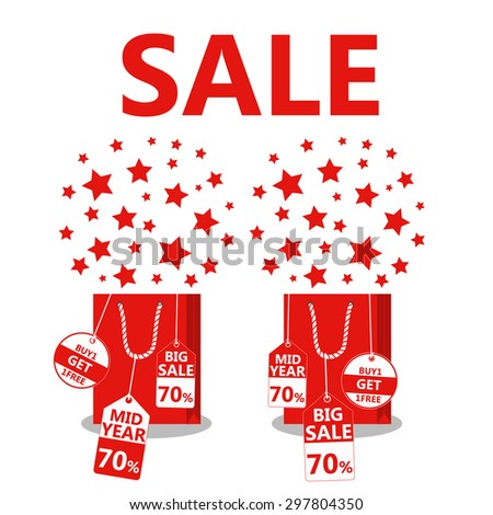 Midnight sale. Label price cuts. Star on Shopping bag. Red symbols. Hot sale. Vector illustration - stock vector