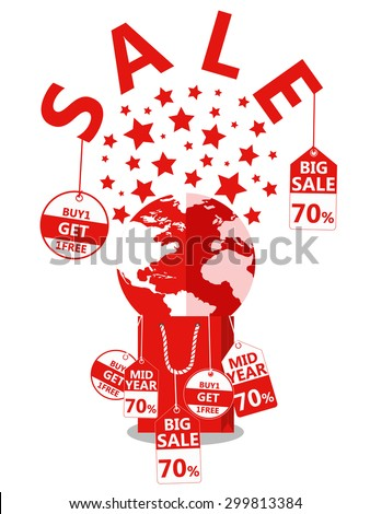 Midnight sale. Label price cuts. World on Shopping bag. Red symbols. Hot sale. Vector illustration - stock vector