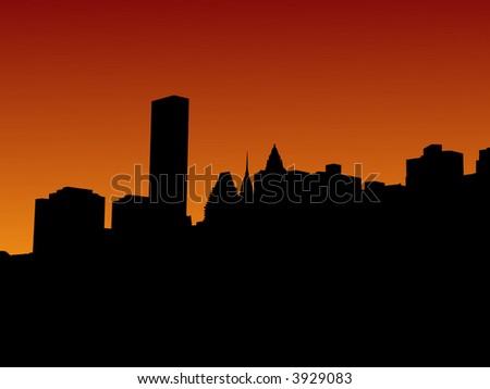 Midtown Manhattan skyline at sunset illustration - stock vector