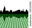 Midtown Manhattan skyline Happy St Patricks day with shamrocks illustration - stock vector