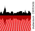 Midtown Manhattan skyline happy valentines day with hearts illustration - stock photo