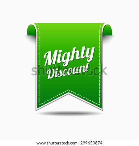 Mighty Discount Green Vector Icon Design