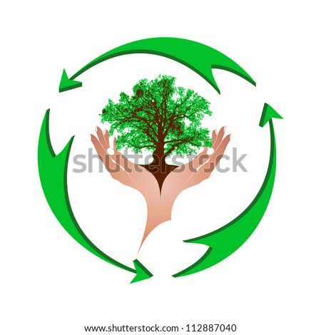 Mighty green oak in gentle female hands and a green arrows. The concept - environmental protection, recycling. Vector. eps 8 - stock vector