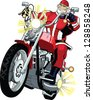 Mighty santa on a motorbike, colored - stock vector