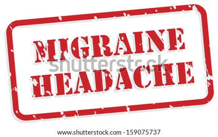 Migraine headache red rubber stamp vector for mental health concept