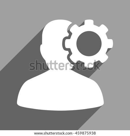 Migraine long shadow vector icon. Style is a flat migraine white iconic symbol on a gray square background. - stock vector