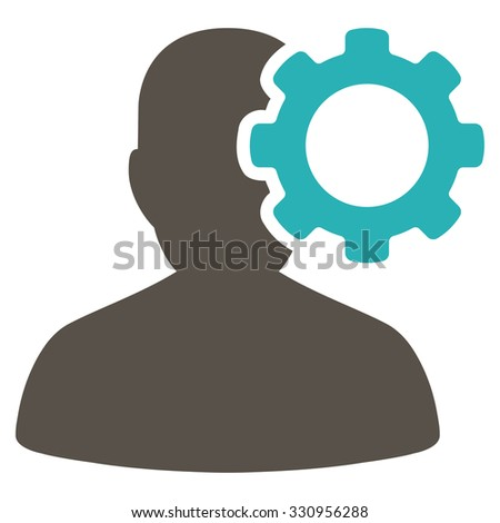 Migraine vector icon. Style is bicolor flat symbol, grey and cyan colors, rounded angles, white background. - stock vector