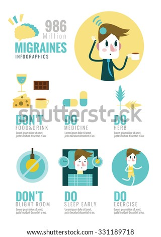 Migraines Infographics. flat design elements. vector illustration - stock vector