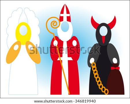 Mikulas, angel and devil - Saint Nicolas - Czech Christmas tradition - empty head vector design - stock vector