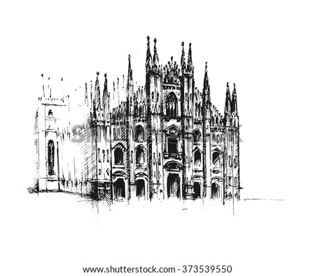 Gothic Architecture Vector Hand Drawn Illustration