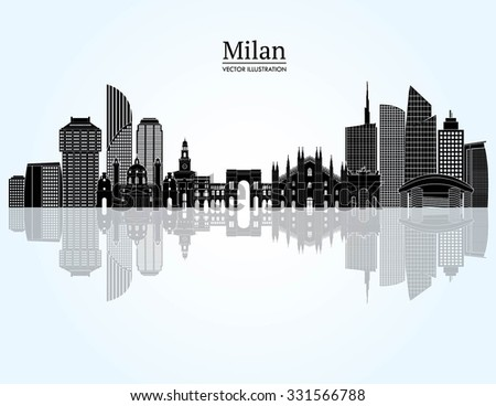 Milan detailed skyline. Vector illustration - stock vector