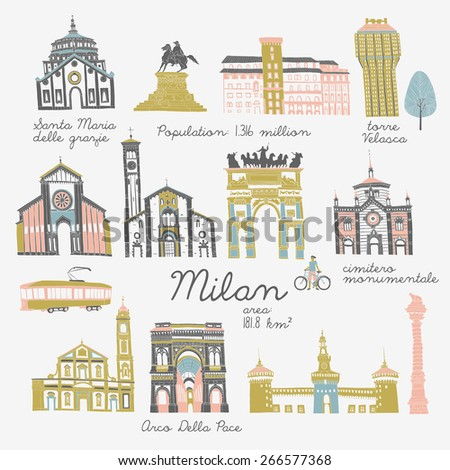 Milan, landmarks and monuments - stock vector