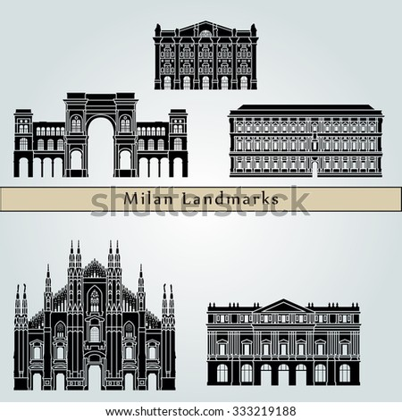 Milan landmarks and monuments isolated on blue background in editable vector file - stock vector