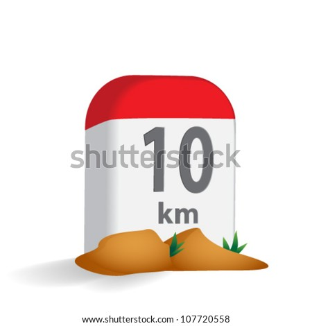 Milestone in the mountains - stock vector