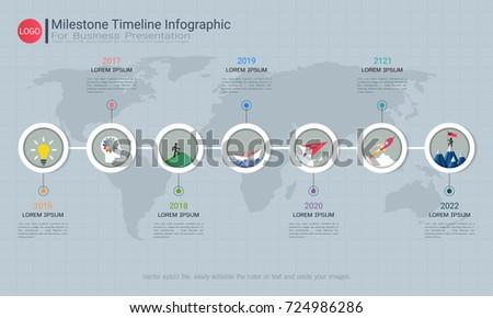 milestone timeline infographic design road mapのベクター画像素材