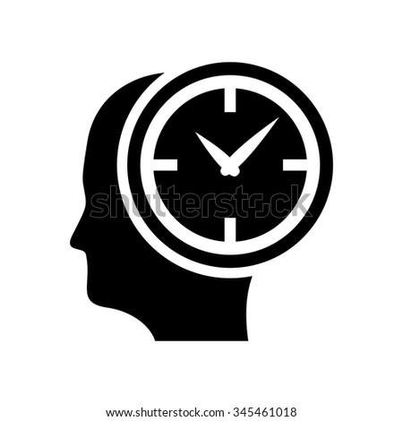 milestones clock icon - Head with clock - stock vector