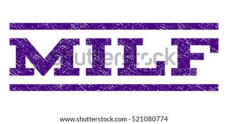 Milf watermark stamp. Text tag between horizontal parallel lines with grunge design style. Rubber seal stamp with dirty texture. Vector indigo blue color ink imprint on a white background.