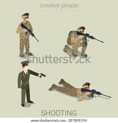 Military aiming shooting people in uniform flat isometric 3d game avatar user profile icon vector set. Soldier SWAT officer sniper special operation unit. Build your own world web collection. - stock vector