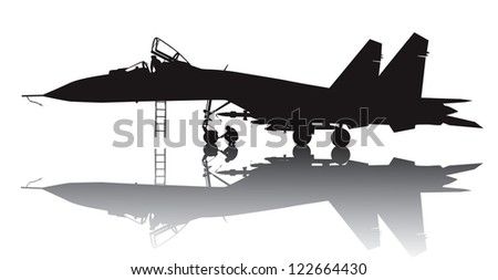 Military aircraft vector silhouette with reflection - stock vector