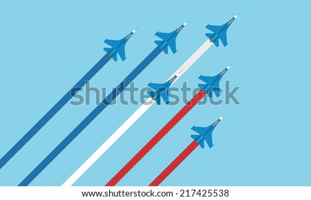 Military airplane in the sky. Vector illustration - stock vector