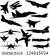 military airplanes collection - vector - stock vector